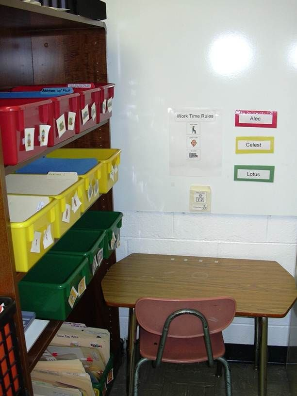 Independent Work Station I Like How The Bins Are Color