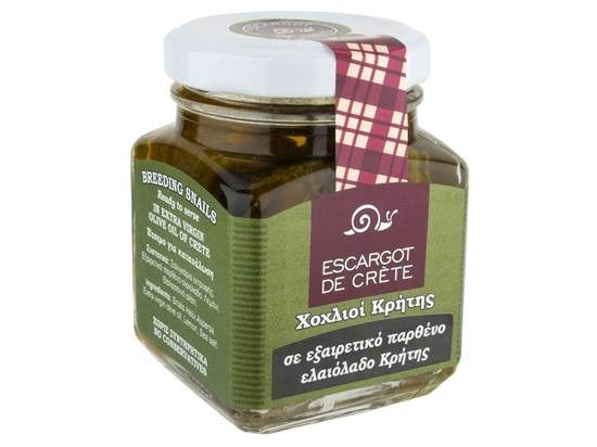 ''ESCARGOT DE CRETE'' Finest Gourmet Helix Aspersa Snails in Cretan Olive Oil