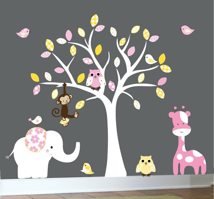Childrens wall decals jungle nursery white tree by couturedecals, $129.00