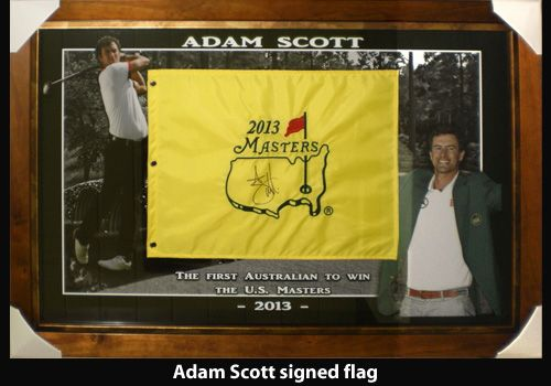 Adam Scott signed flag