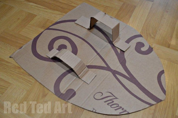 Cardboard Knights Shield - Upcycled from an old box! Found on RedTedArt