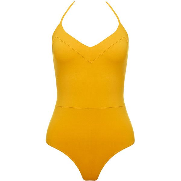 Bower Yves Sahara One Piece ($120) ❤ liked on Polyvore featuring swimwear, one-piece swimsuits, yellow, halter-top one-piece swimsuits, yellow swimsuit, 1 piece bathing suits, one piece swimsuits and yellow one piece swimsuit