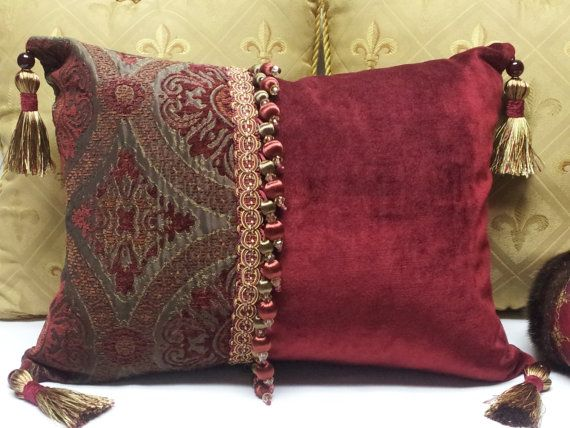 Ooak Decorative Merlot And Brown Accent Pillow By