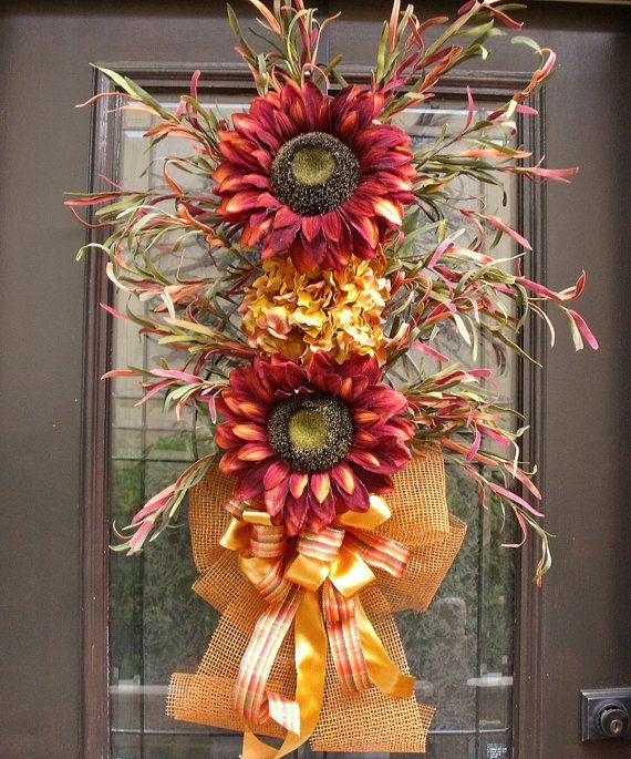 Wild Sunflower Bouquet, Fall Wreaths, Door Wreaths, Fall Swag, Sunflower Arrangement