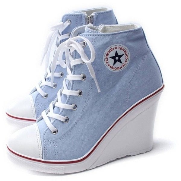 EpicStep Women's Canvas High Top Wedges High Heels Casual Fashion... ($48) ❤ liked on Polyvore featuring shoes, sneakers, hi tops, wedge heel sneakers, canvas sneakers, high top shoes and hi top wedge sneakers