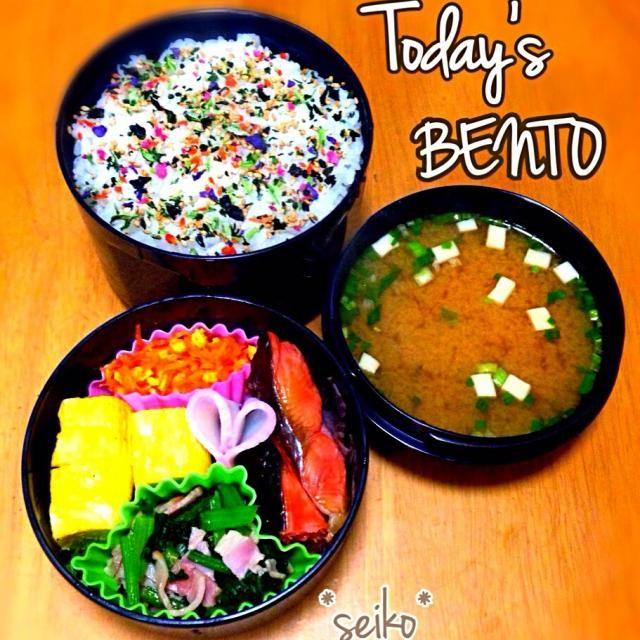 おはようございます。  昨日は久々の お弁当作りオフ日でした。  今日は息子くんの参観があったり かなりバタバタしそうですが ハナキンなので頑張ります(❁´◡`❁)←意味不明w  塩鮭 小松菜とベーコンの炒め煮 にんじんしりしり 卵焼き ♡かまぼこ - 133件のもぐもぐ - 旦那さんのお弁当☆ 2014.2.28 by seiko111