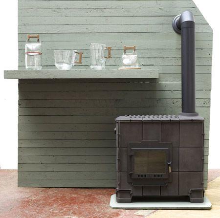 Large contemporary tile stove designed by Dick van Hoff (Van Hoff Ontwerpen & Weltevree)