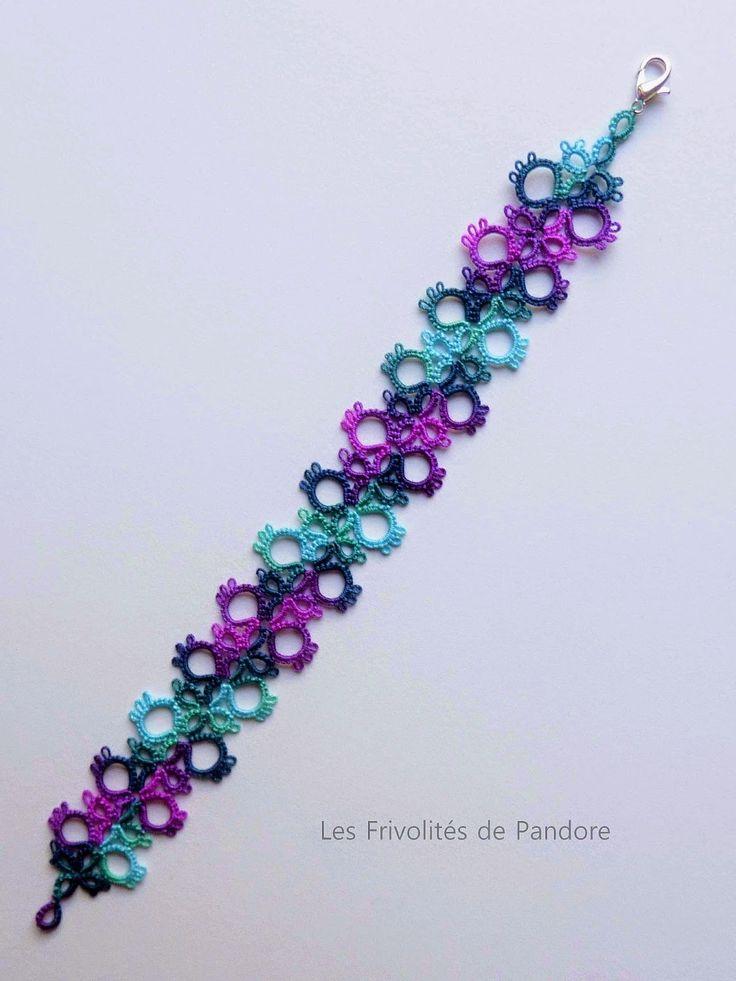 les Frivolités de Pandore, dentelle aux navettes.: Bracelet Jane (Jane's Bracelet)  Jane's Bookmark made as a bracelet. (pattern link)
