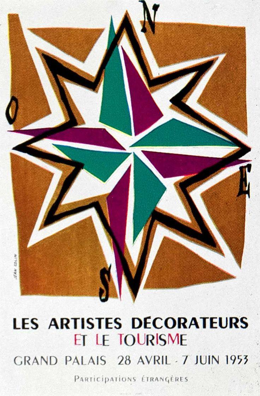 Poster design jeans - 1955 Color Print Jean Colin Grand Palais Compass Rose Exhibition Graphic Advert Compass Graphic
