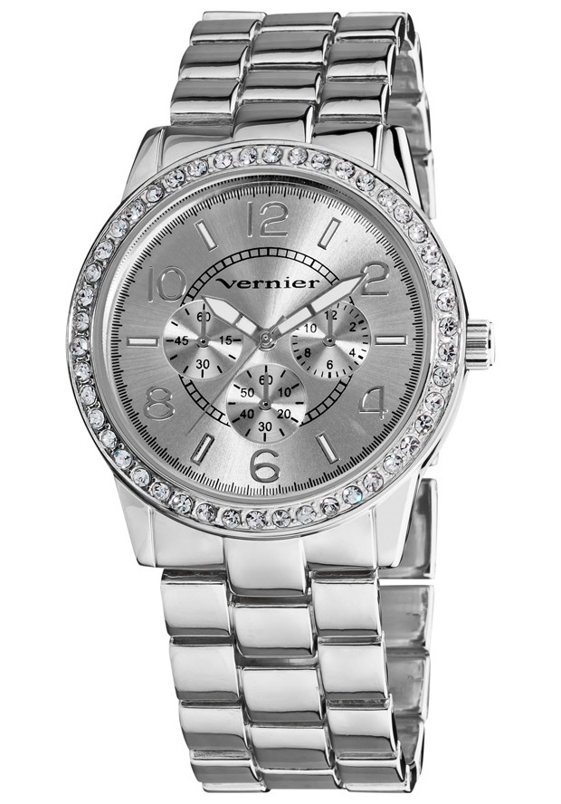 Price:$27.00 #watches Vernier VNR11124SS, This boyfriend sized time piece gives a luxurious look with genuine crystal stones along the bezel and silver tone bracelet. The chrono-look dial pattern is in fashion sure to complement any outfit.