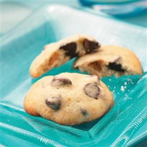 Banana Chocolate Chip Cookies Recipe -These soft cookies have a cake-like texture and lots of banana flavor that folks seem to love. —Vicki Raatz, Waterloo, Wisconsin