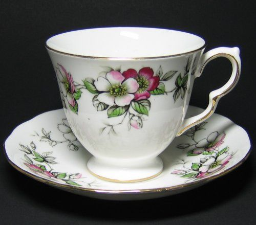 french tea cups and saucers | Queen Anne Tea Cup and Saucer Apple Blossom