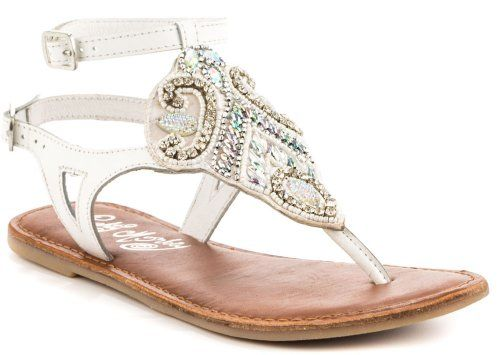 Beautiful white t-strap summer sandals 2014 with adjustable ankle straps and gorgeous bead embellishment by Naughty Monkey