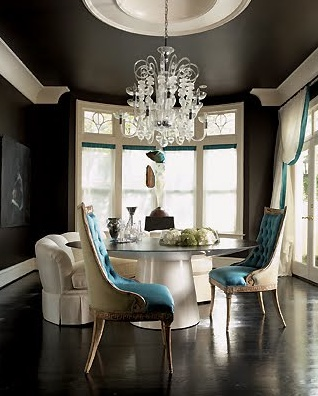 Black & White majestic dining room with a touch of turquoise