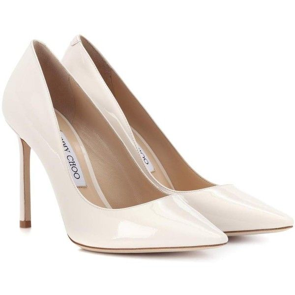 Jimmy Choo Romy 100 Patent Leather Pumps (5485 MAD) ❤ liked on Polyvore featuring shoes, pumps, white, patent leather pumps, white patent leather shoes, jimmy choo shoes, white patent leather pumps and patent pumps