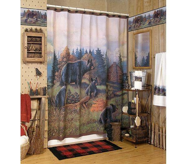 Bear decor com black bear lodge bathroom shower for Country bear shower curtain