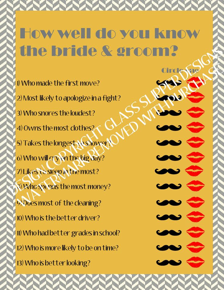 Printable bridal shower/couples shower game - How well do you know the bride and groom? by glassslipperdesigns on Etsy