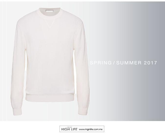 Suéter blanco de mezcla de cachemira y seda para lucir extraordinario esta temporada. #HighLife