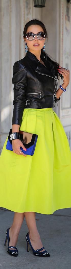 Street style fashion / karen cox. Winter street style - Black leather motorcycle jacket and neon yellow full skirt