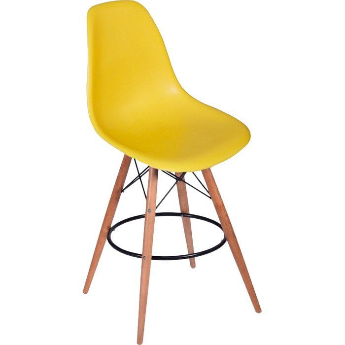 Plastic seat bar stool with wood and steel base. Your guests will enjoy gathering to socialize around your bar area on these fun bar stools.