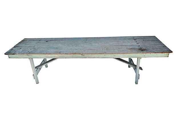 "Long Dining Table - ""Long vintage dining table with a beautiful patina, perfect for al fresco dining. Legs fold for easy storage."""