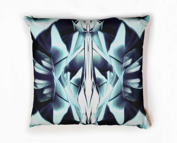 Glass Facet Digital Print Cushion cover  Navy blue by LauraNadile, $67.00