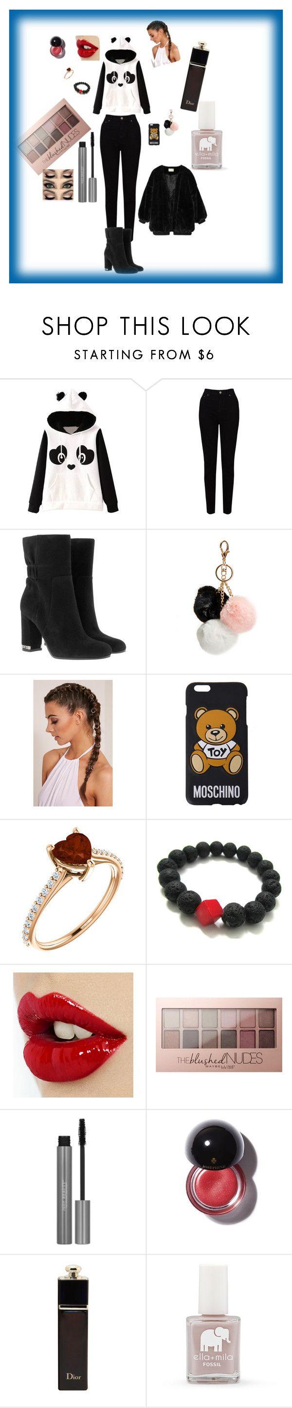 """""""Panda rządzi ."""" by ania-chudzik on Polyvore featuring moda, EAST, MICHAEL Michael Kors, GUESS, Moschino, Maybelline, Christian Dior i FOSSIL"""