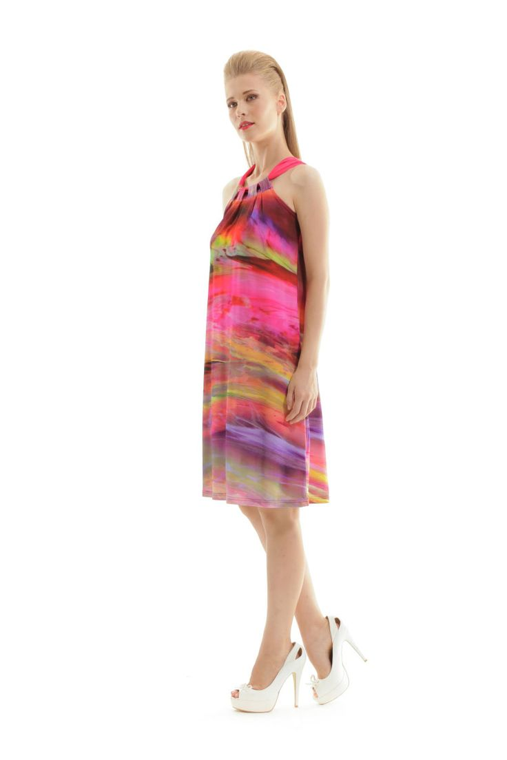 Silky-printed dress with a detailed Halter Neck is our piece of the day! Add some color and shine! Shop your in the link below. #silk #silky #dress #halter #neck #detail