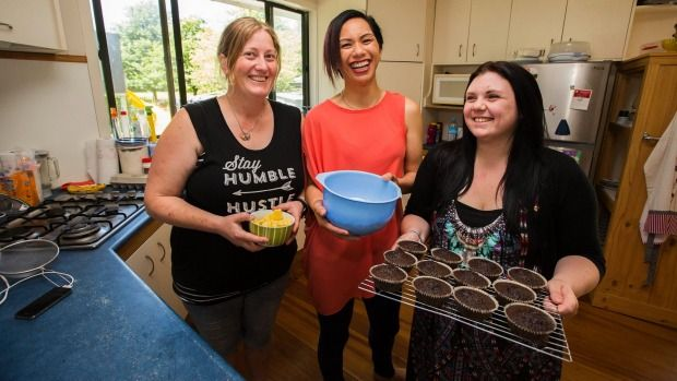 Rebecca Sharp, Mini-Rose Samuels and Tara Parkes are baking volunteers from Palmerston North's chapter of Good Bitches ...