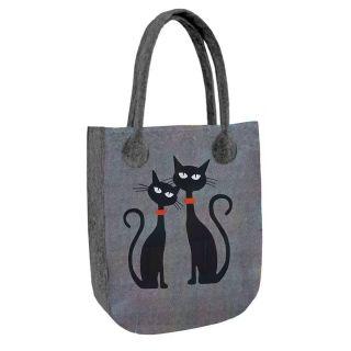 Filcová kabelka City Dve mačky