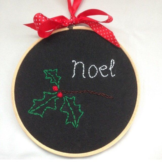 17% off this Christmas holly embroidered art #embroidery #noel #wallart #christmasideas