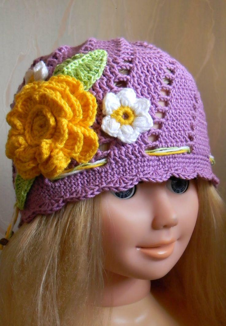Kreatywna Pszczoła: Fioletowa czapka szydełkowa wykonana z bawełny