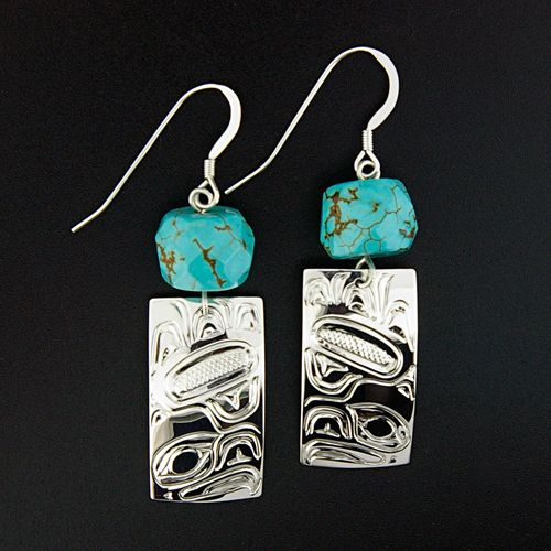 Eagles and turquoise are featured on this pair of fabulous sterling silver earrings by Sonia Triebwasser