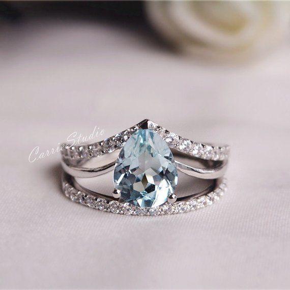 Natural Aquamarine Ring Set Aquamarine Engagement Ring Set Wedding