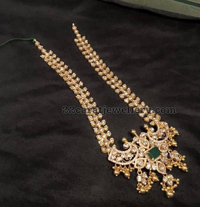 97 Grams Polki Long Set - Jewellery Designs