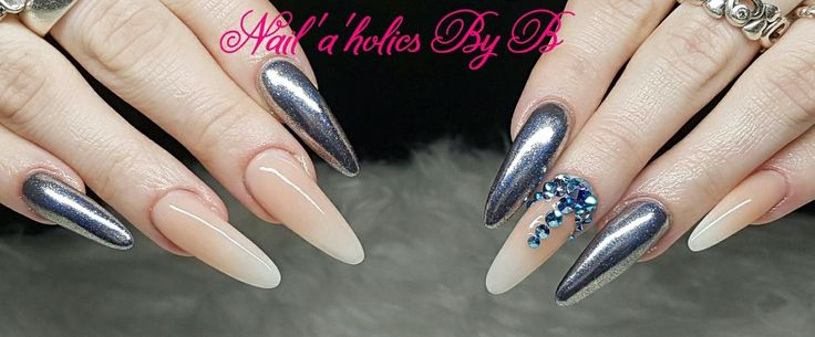 Silver nails with Chrome pigment and babyboomer nails