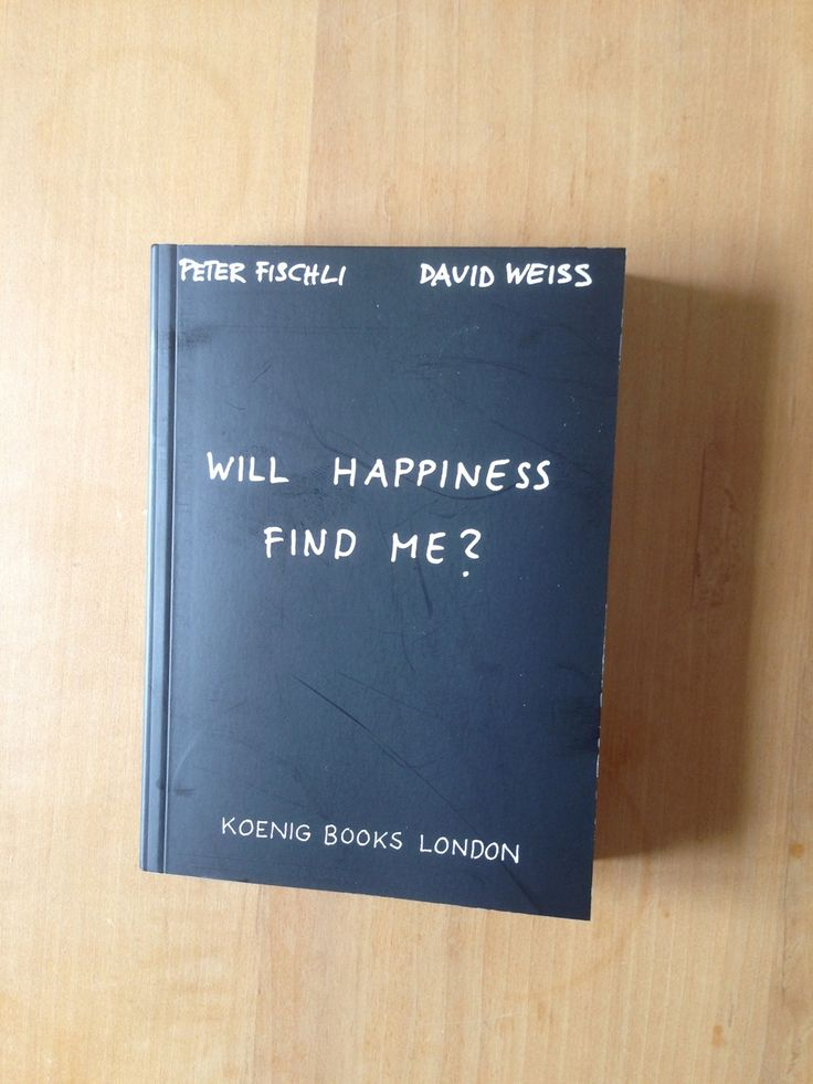 Will Happiness Find Me? / Peter Fischli and David Weiss, 2003. An artist's book by the renowned Swiss duo dedicated to the questions that everyone asks themselves once in a while: Can something be unbelievable? Should I get drunk? Could I be Japanese? Is the freedom of birds overrated? Am I a farmer in winter? Does unease grow by itself? Should I crawl into my bed and stop producing things all the time?