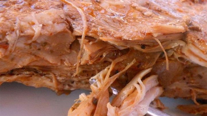 Puerto Rican style pork roast, but done in the slow cooker.  It's so tender and flavorful.  Best of all, it's so easy to make!