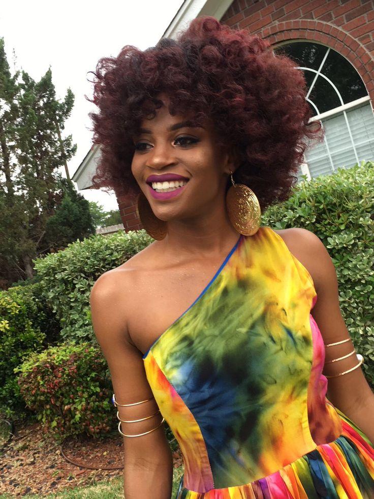 Natural hair, burgundy, red, dye, African American