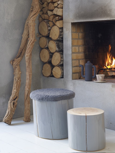 Knitted Wooden Stool Cover and fireplace
