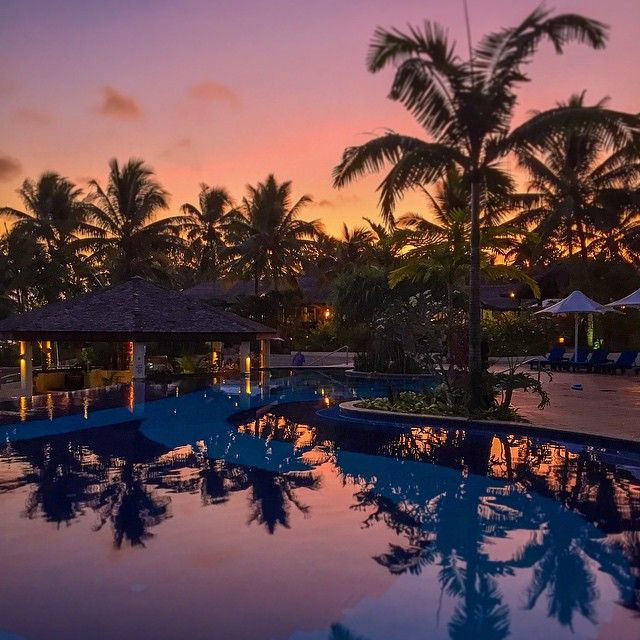 Sunset by the pool @ Warwick Le Lagon, Port Villa, Vanuatu. Such a beautiful place