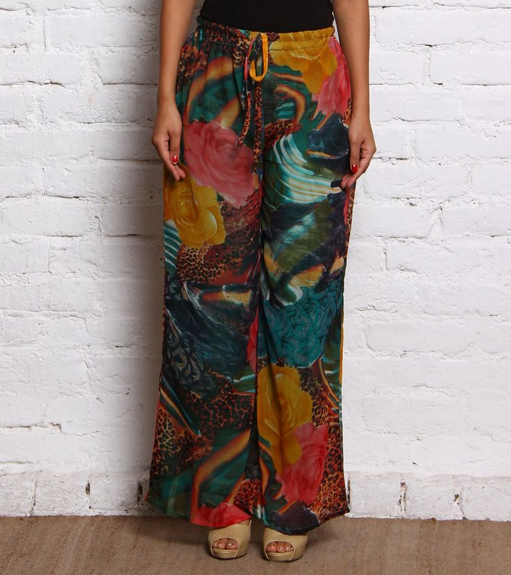 Multicoloured Printed Georgette Palazzos #indianroots #fusionwear #palazzos #georgette #printed