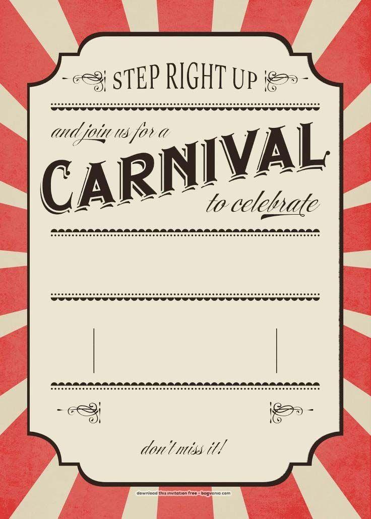 Download Now FREE Carnival Birthday Invitations Bagvania