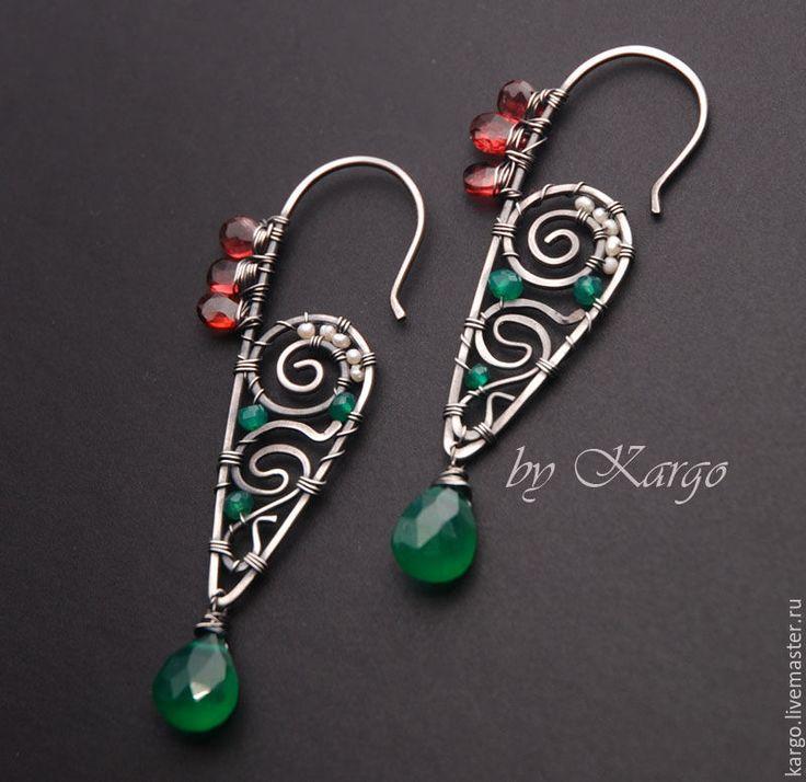 Купить Серьги Rococco (cеребро) - зеленый, серьги, длинные серьги, узор, wire wrap