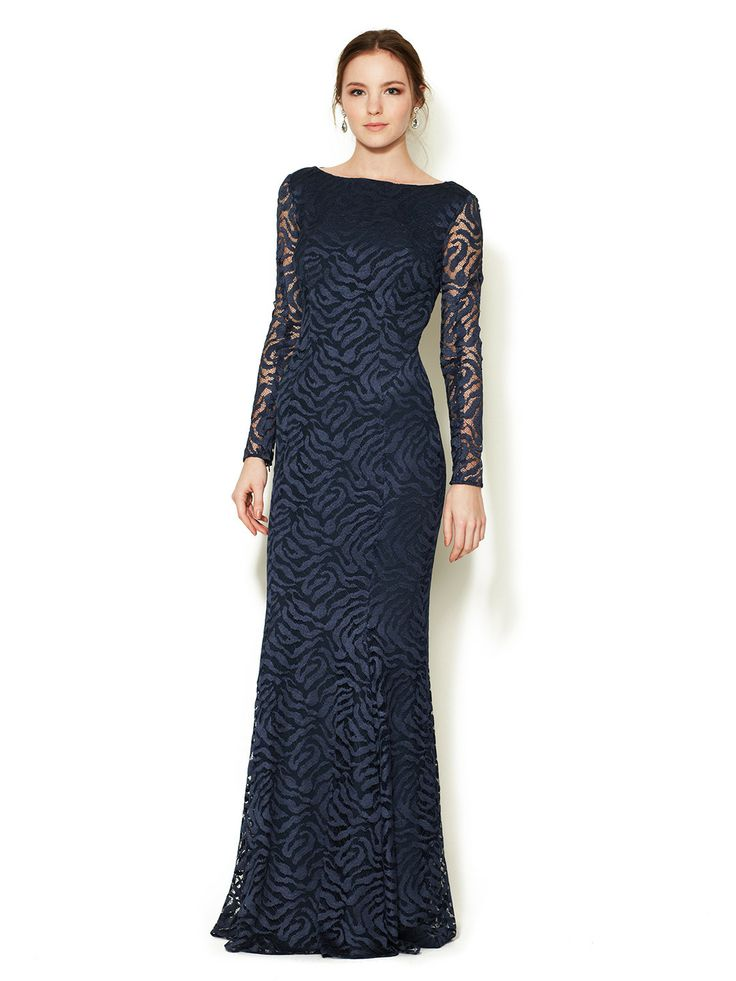 Silk Tiger Lace Long Sleeve Gown by Monique Lhuillier at Gilt