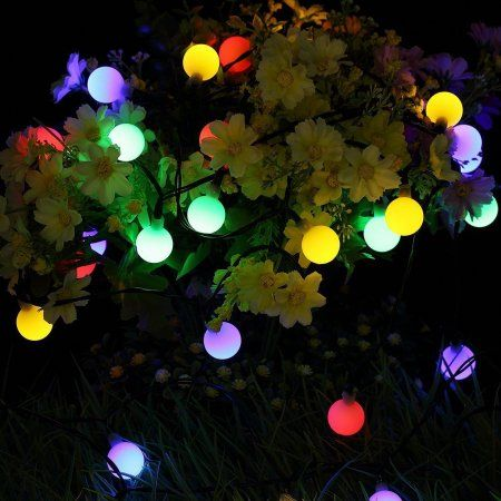 Dteck Solar Outdoor String Lights 31ft 50 Led Waterproof Ball Lights Christmas Lights Solar Powered Starry Fairy String Lights Multi Color