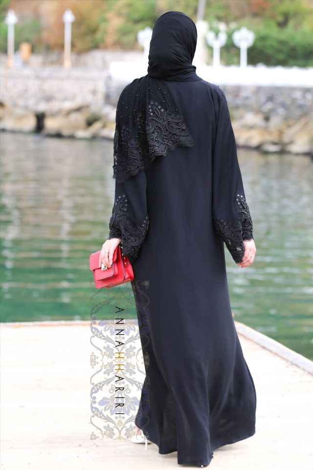 Lulu Lace Abaya in Black