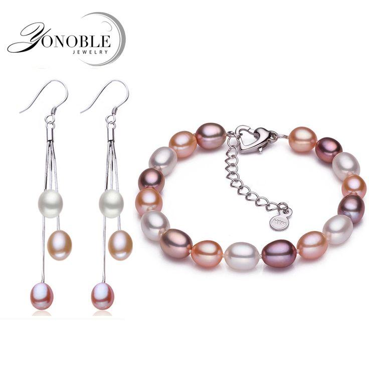 100% real natural perla conjuntos de joyas para las mujeres, brazalete de perlas de agua dulce pendiente de plata de ley 925 sistemas de la joyería de regalo de cumpleaños