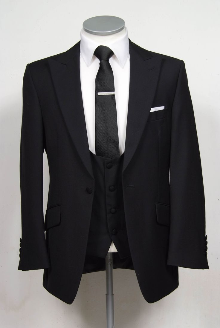 """grooms wedding suit in black slim fit light weight wool   with scoop neck waistcoat. Mens sizes from 32"""" chest upward and include extra short, short, regular, long and extra long fittings. Boys sizes from 20"""" to 34"""" chest. Complete outfit includes jacket, skinny trousers, hire or matching waistcoat, brand new traditional or French wing slim fit shirt in white or ivory, tie or cravat, braces and cufflinks. £150.00 to hire  #groom #wedding #suit #hire #suithire #scoop #waistcoat #black"""
