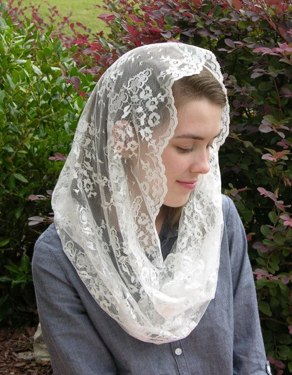 Beautiful and elegant, this Infinity Veil is made from a vintage, soft white Chantilly lace with just a slight touch of sheen.... + Veil can be